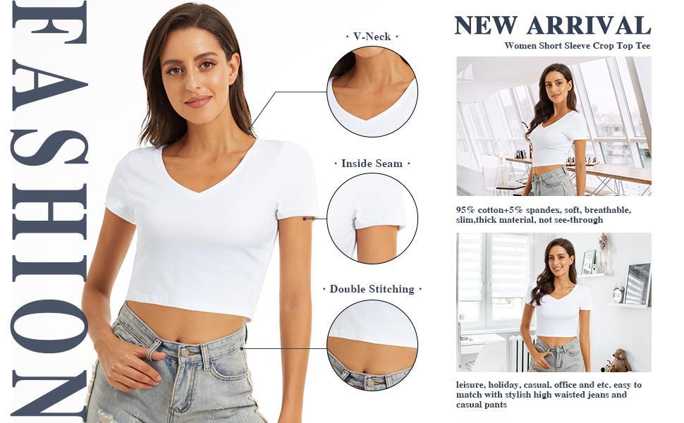 women short sleeve slim crop top t shirt
