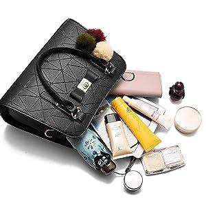 cosmetic organiser storage holder bag women handbag purse leather black color bag