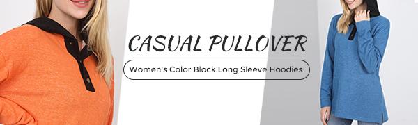 casual hoodies color block