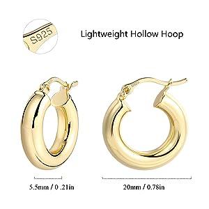 Lightweight chunky hoop earrings