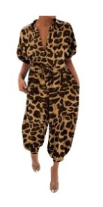 Women Leopard Harem Romper Jumpsuits