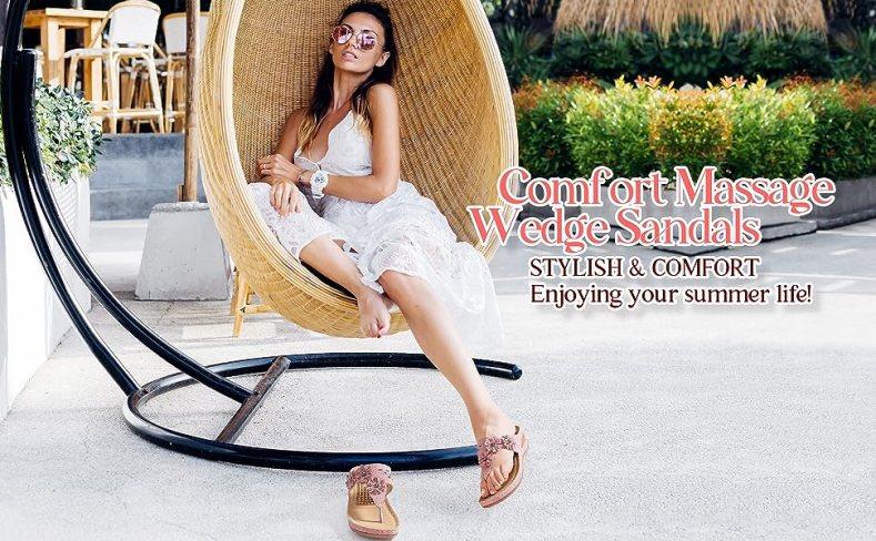 women summer wedge sandals casual beach Bohemia Flip Flops Massage Function Thong Sandals ladies
