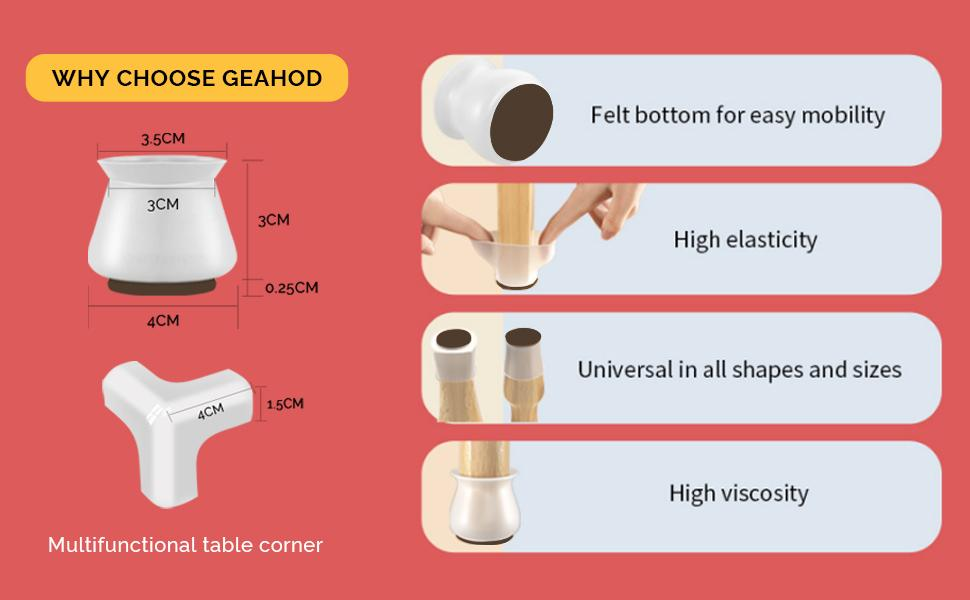 Chair Leg Upgraded Protectors for Hardwood Floors