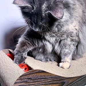Rascador, juguete para gatos, pelotas, cartón