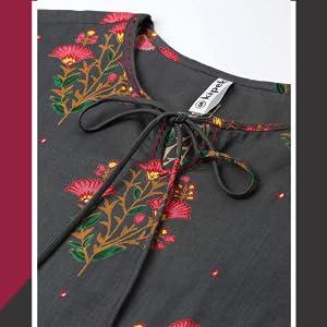Kipek Women's Rayon Buta Print Mirror Work Straight Tunic Kurti SPN-FOR1