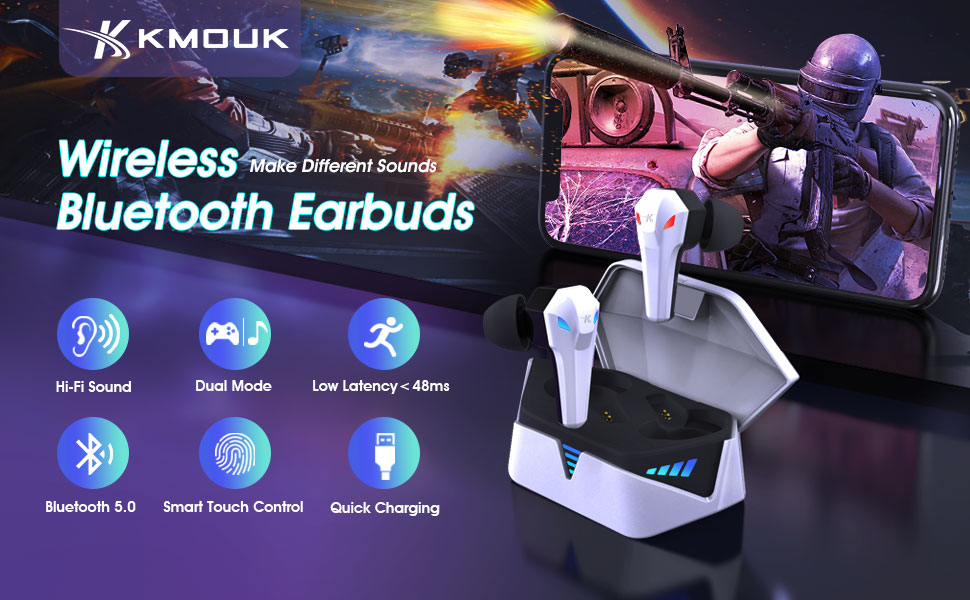 True Wireless Gaming Earbuds with 48ms low latency