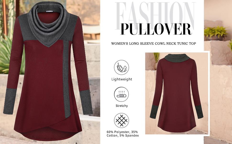 women  tunic tops for leggings long sleeve ladies sweatshirt winter womens cowl neck tunics fall