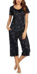 star above printed pajamas