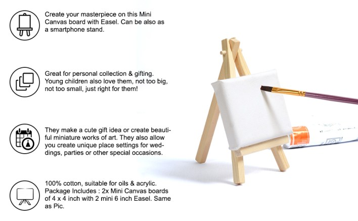 SPN-VIPL Mini Display Easel with Canvas Board