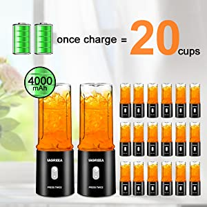 powerful battery, once charge can make 20 cups juice