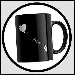 Paperholic Creations Love Printed Ceramic Coffee Mug - 1 Piece, Black, 330 ml SPN-FOR1