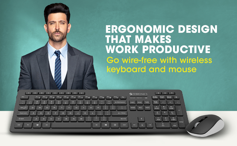 Wireless Keyboard & Mouse Combo,Zeb-Companion 500,zebronics Wireless Keyboard