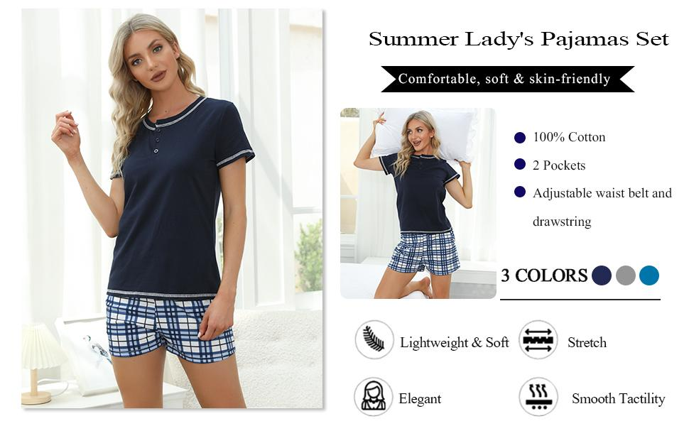Mabecol Schlafanzug Damen Kurz Pyjama 4