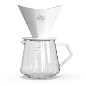 CrossCreek White Ceramic coffee dripper with 650ml Glass Server