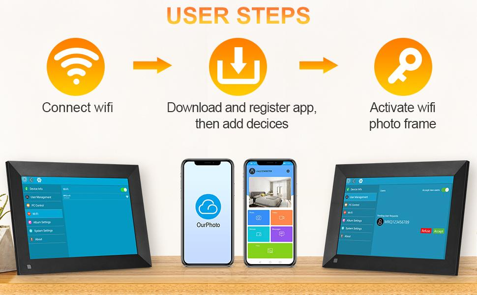 Can be connected 2.4G WIFI Easy to transfer the pictuers from both phone and email