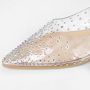 Allegra K Women's Pointed Toe Clear Rhinestone Ballet Flats