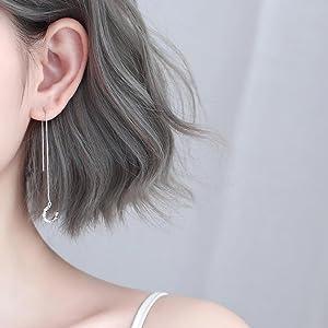 threader earrings chain