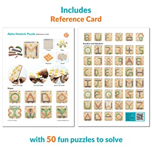 reference card | wooden alphanumeric puzzle