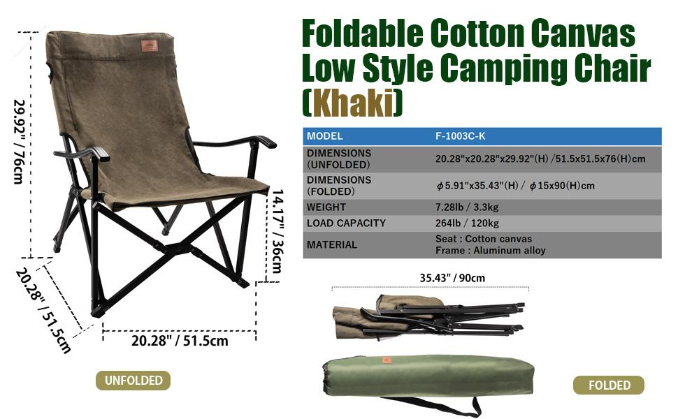 A low style cotton canvas camping chair made by CAMPINGMOON