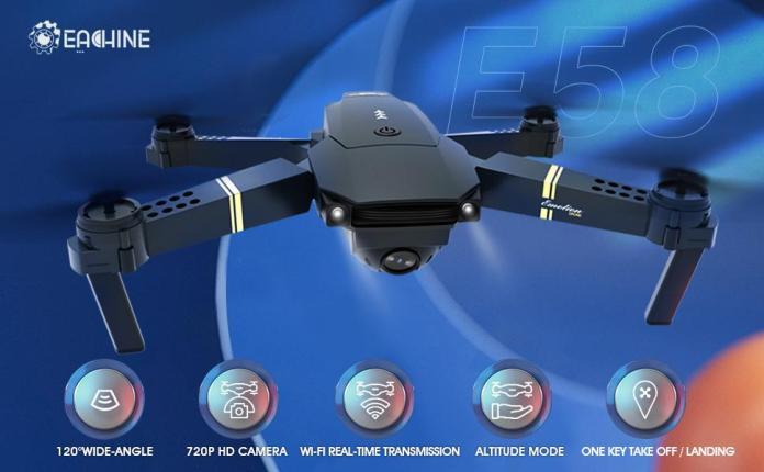 EACHINE E58 WiFi FPV Quadcopter with 120° FOV 720P HD Camera Foldable Drone RTF