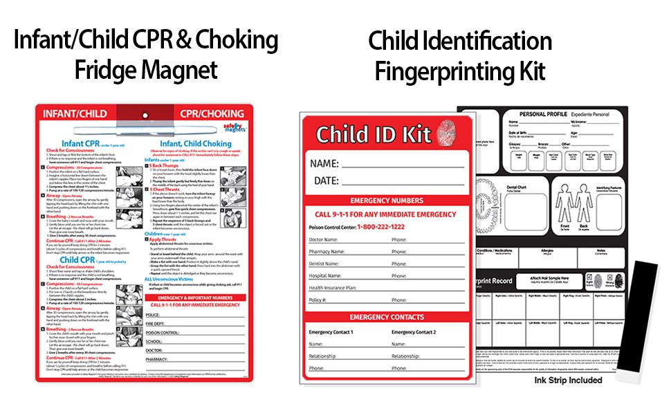 Child Safety Pack - CPR Choking Magnet and Fingerprinting Kit