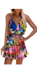 Women Spaghetti Strap Tropical Dress