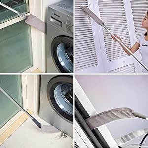 The flexible duster can reach reach gap spaces between or under appliances