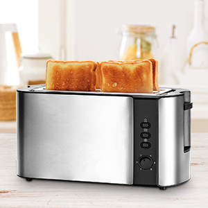 Toaster, Long Slot Toaster 4 Slice with Warming Rack, 6 Browning