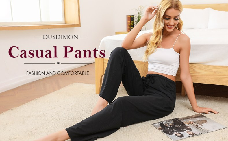 DUSDIMON Women's Lounge Pajama Pants with Pockets