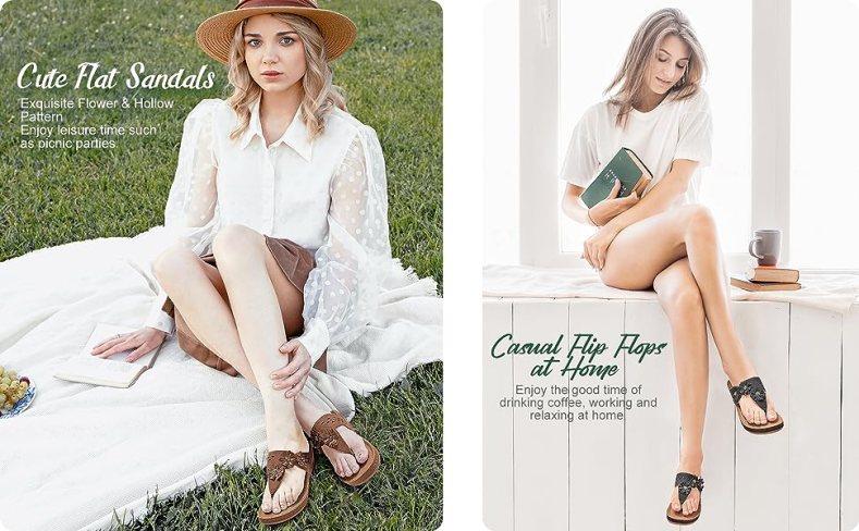 women summer sandals comfy massage  wedge thong sandals cute platform shoes lightweight flip flops