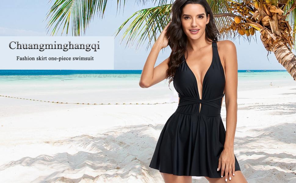 Damen Badekleid Plus Size Figurformender Einteiler Badeanzug Swimsuit