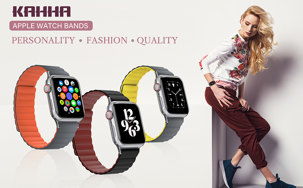 KAHHA Apple watch magnetic bands,Apple watch sports band,Apple watch strap silicone bnads