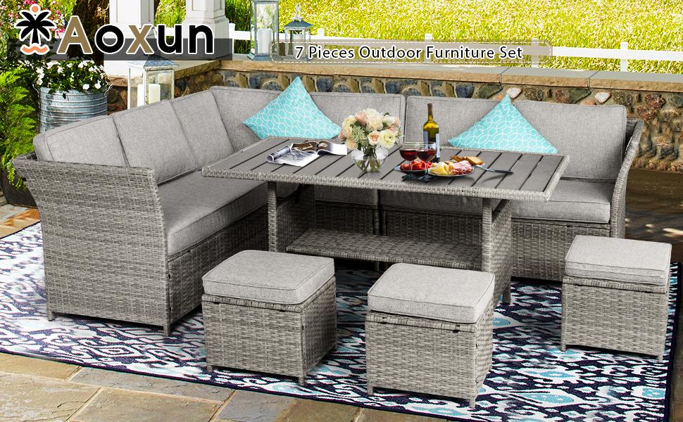 Aoxun 7 Pieces Outdoor Sofa Set