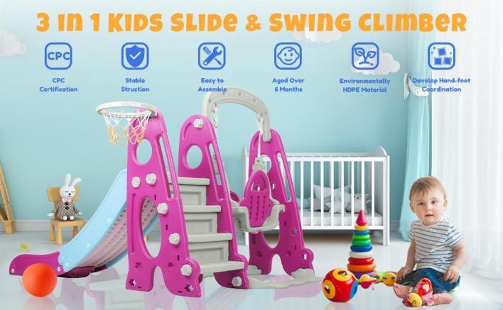 kids swing slide set