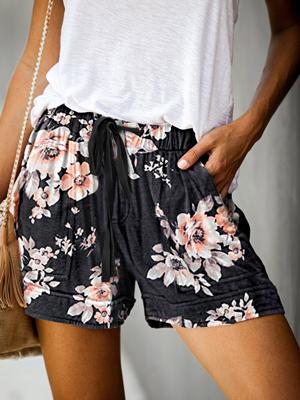 Black printed casual shorts