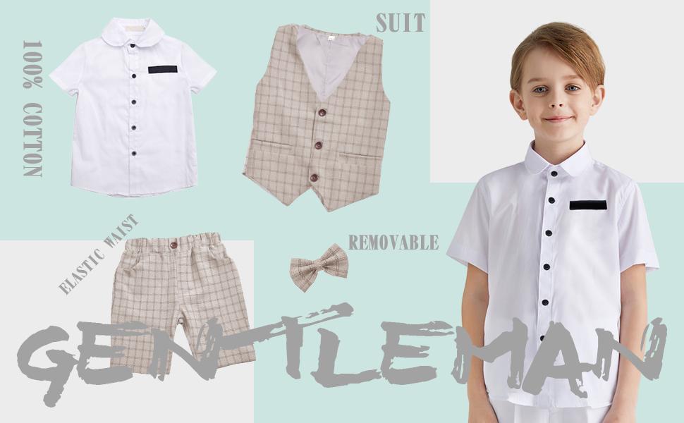 4 Pieces Suit Set Gentleman Infant Formal Wedding Outfit Set