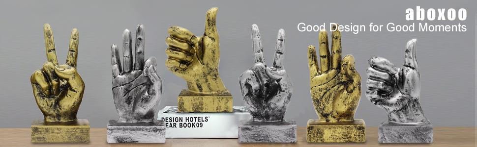 Hand Finger Gesture Desk Statues
