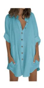 Button Down T Shirt Dress Long