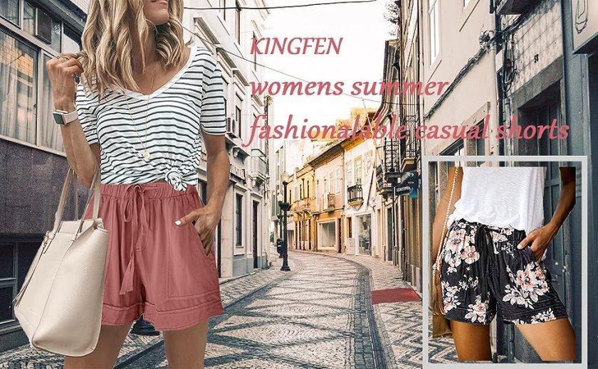 KINGFEN Comfy Elastic Waist Shorts for Women Summer Short