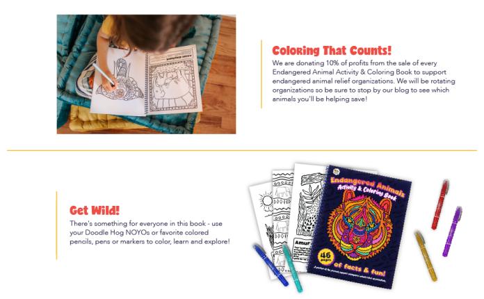 Doodle Hog Endangered Animals Coloring Book Panel 4