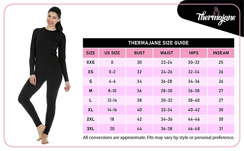 Thermajane themals size chart