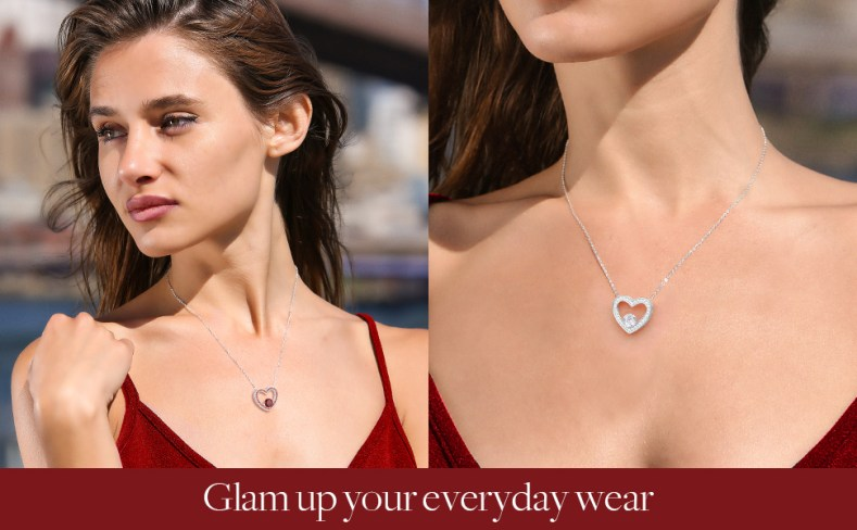 red heart crystal birthstone necklace for women