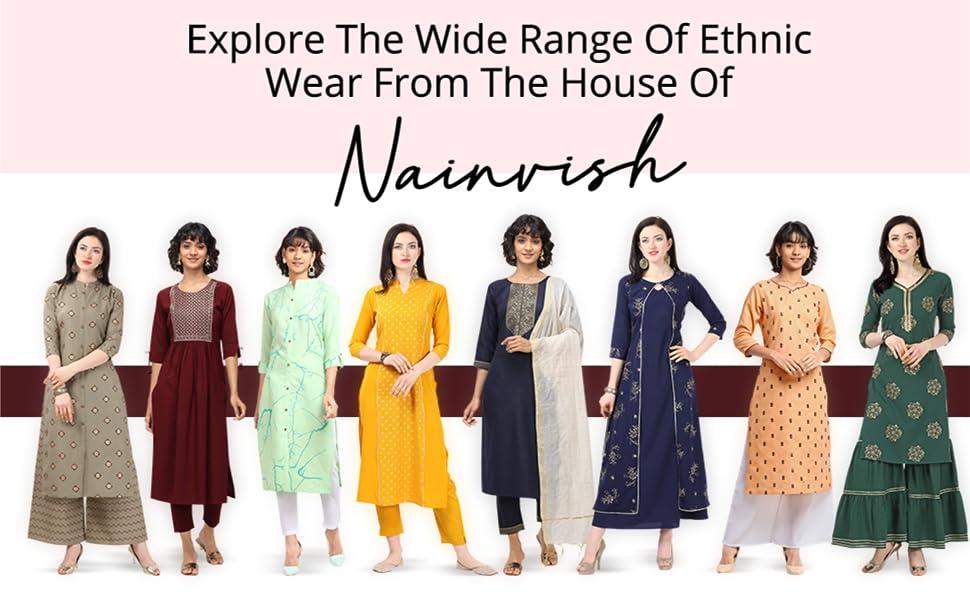 NAINVISH Women Maroon Straight Cotton Kurti Pant Set with Dupatta (SD096) SPN-FOR1
