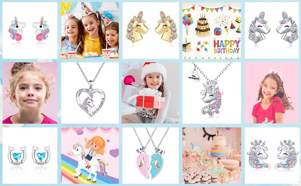 Girls Unicorn Necklace Earrings Jewelry