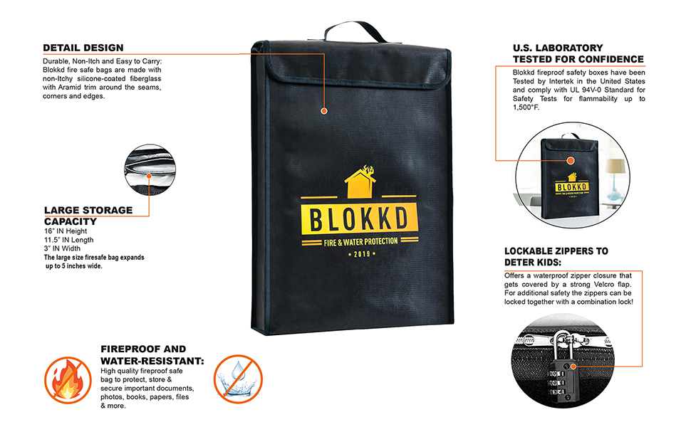 Fire Box Safe Fireproof Document Bag Waterproof Metal Box Fireproof Containers for Documents