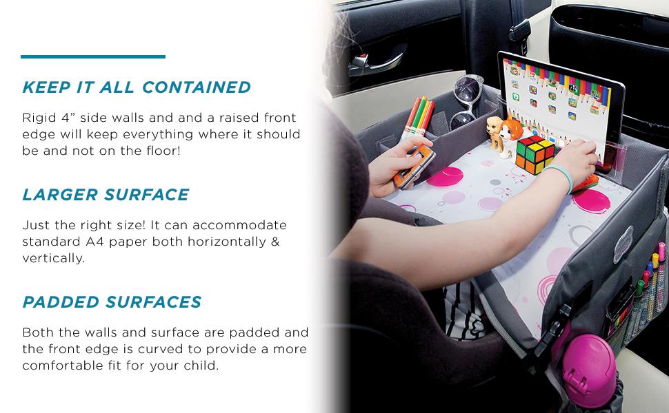 kids road trip back seat organizer tray airplane stroller food table