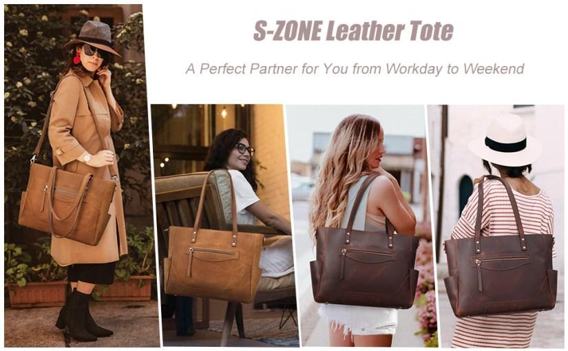 S-ZONE Women Vintage Genuine Leather Tote Bag Large Shoulder Purse Work Handbag Crossbody Strap