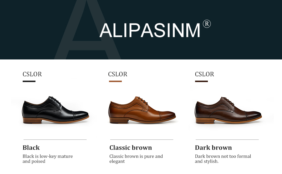 ALIPASINM black brown dress shoes for men