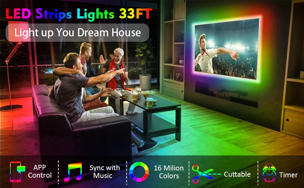 33ft led strip lighs wifi