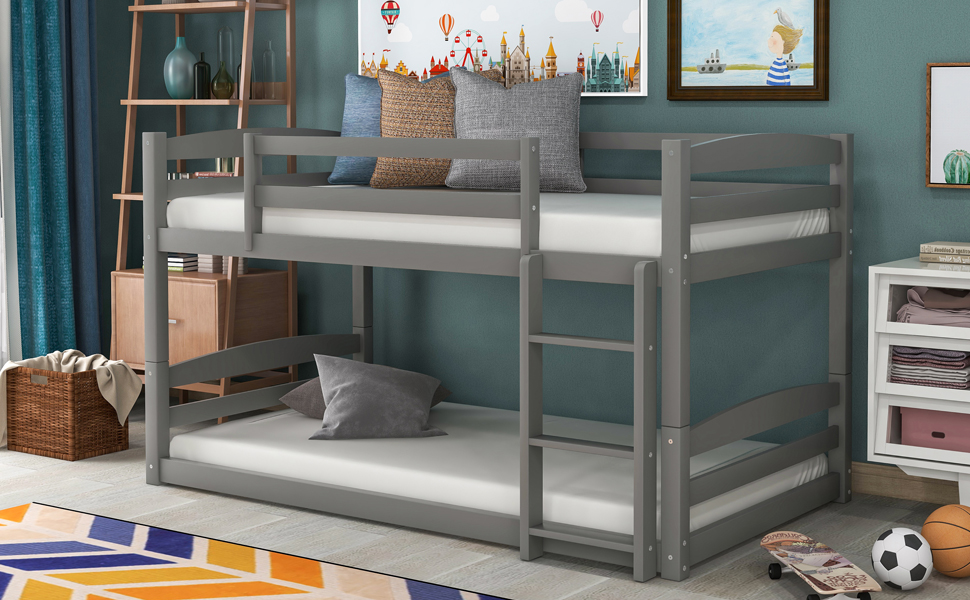 Amazon Com Low Bunk Beds For Kids And Toddlers Wood Bunk Beds No Box Spring Needed Gray Twin Over Twin Bunk Beds Furniture Decor